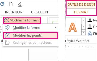 Commande Modifier les points accessible depuis Modifier la forme sous l'onglet Outils de dessin - Format