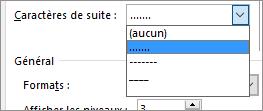 Modifier les caractères de suite dans votre table des matières en tirets ou points.
