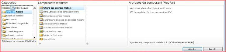 Le sélecteur de composants WebPart affiche le composant WebPart Excel Web Access