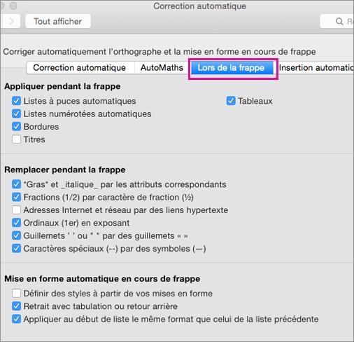 Option Mise en forme automatique en cours de frappe mise en surbrillance dans Préférences
