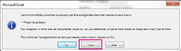 Dans la boîte de dialogue de projet Visual Basic, cliquez sur non.