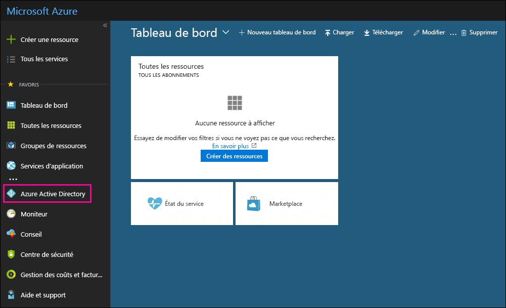 Dans le volet de navigation gauche du portail Azure, cliquez sur Azure Active Directory.