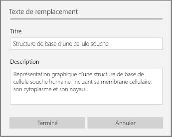 Boîte de dialogue Texte de remplacement permettant d'ajouter un texte de remplacement dans OneNote pour Windows10.