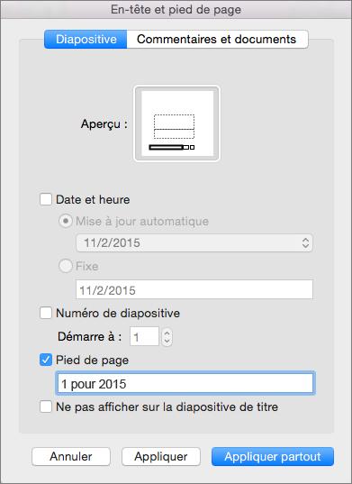 Case à cocher Pied de page sous l'onglet Diapositive dans la boîte de dialogue En-tête et pied de page