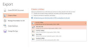 Capture d'écran de la boîte de dialogue Exportation montrant les options disponibles pour la création d'une vidéo basée sur une présentation