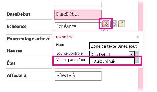Définition de la valeur par défaut d'un champ de date dans une application Access