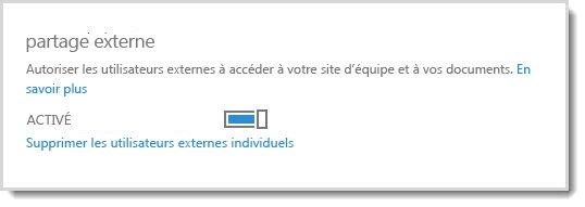 Image montrant la commande d'activation/désactivation pour autoriser les utilisateurs externes à accéder à votre site d'équipe et aux documents.