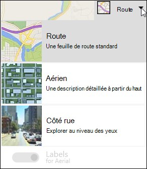 Type de carte Bing Map Web partie