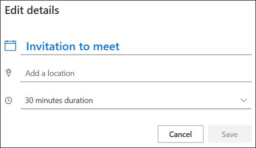 Boîte de dialogue Modifier l'invitation