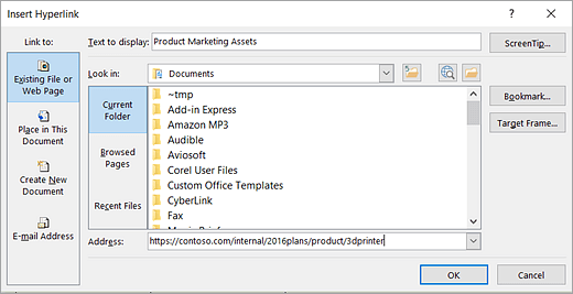 Capture d'écran des boîtes de dialogue Insérer un lien hypertexte et Texte de l'info-bulle