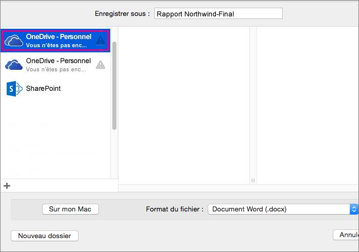 Pour enregistrer votre document dans OneDrive ou un autre emplacement en ligne, cliquez sur Emplacements en ligne.