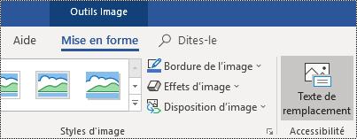 Bouton Texte de remplacement dans le ruban Outlook pour Windows.