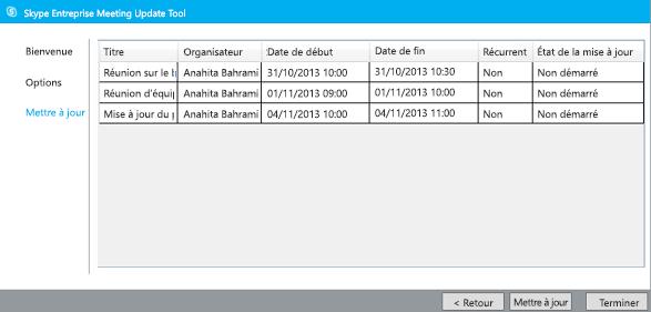 Capture d'écran de la mise à jour de l'outil de migration de réunion