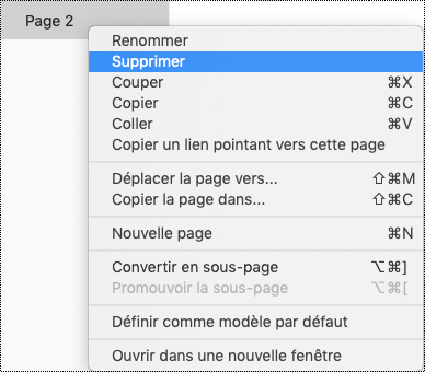 Supprimer une page dans OneNote pour Mac