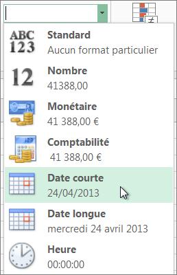 Commande Date, abrégé dans la galerie Format de nombre