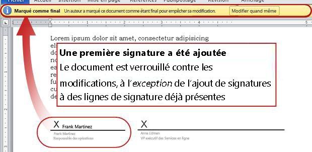 Document avec une première signature, et donc verrouillé