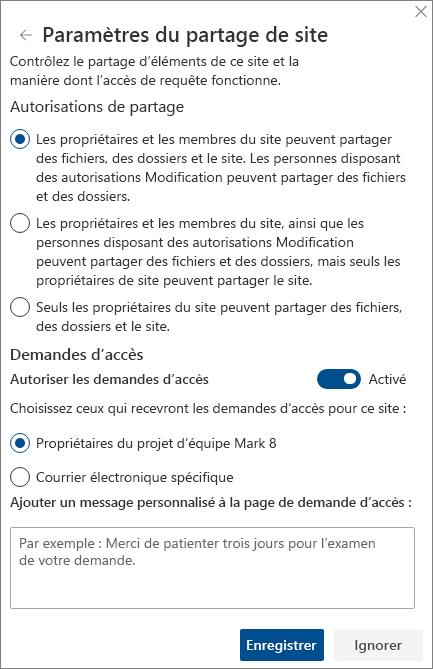 Capture d'écran du volet Paramètres de partage du site.