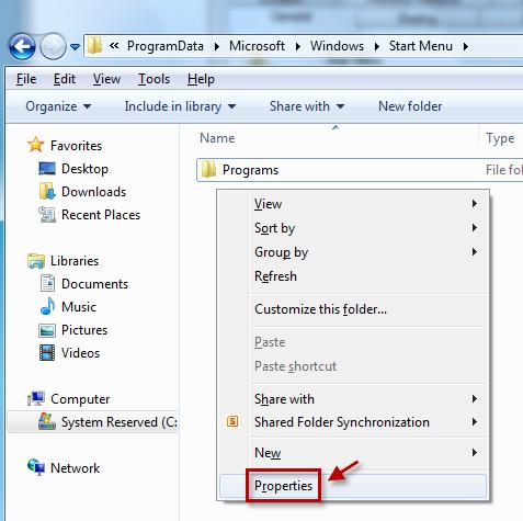 Cliquez avec le bouton droit sur l'espace vide de la fenêtre, puis cliquez sur «Propriété».