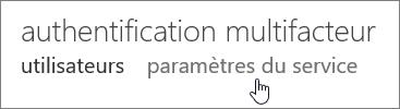 Page Authentification multifacteur sur laquelle une main pointe vers le lien Paramètres de service.