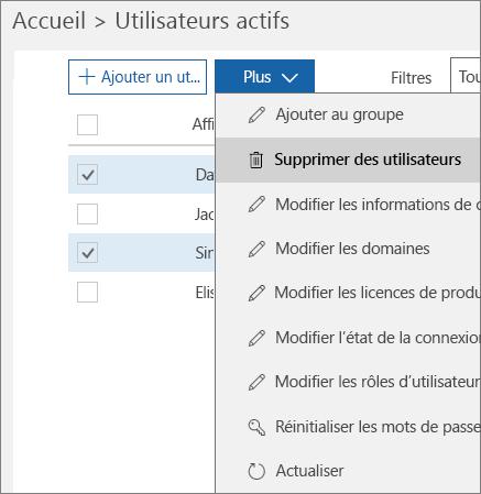Supprimez plusieurs comptes d'utilisateur à partir du Centre d'administration Office365.