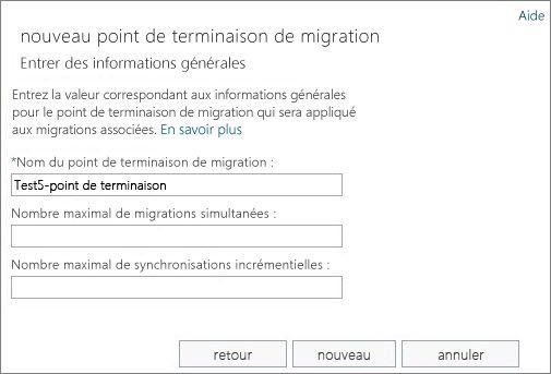 Nom du point de terminaison de migration.