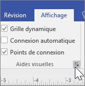 Capture d'écran des options d'affichage avec sélection de Grille dynamique et Points de connexion