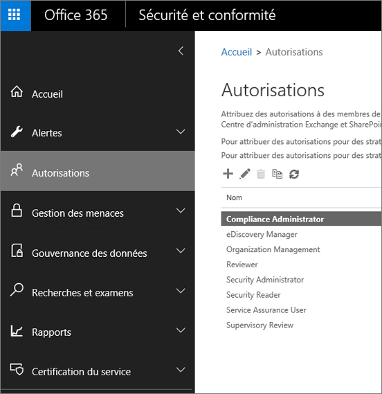 Page Autorisations dans le Centre de sécurité et conformité Office365