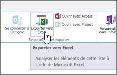 Bouton Exporter vers Excel en évidence sur le ruban de SharePoint