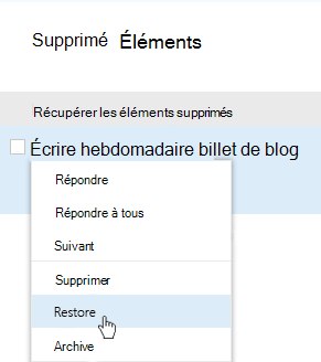 Capture d'écran présentant le menu Récupérer les éléments supprimés