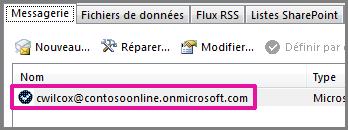 Compte dans la boîte de dialogue Paramètres du compte d'Outlook2013