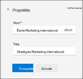 Modifier toutes les propriétés d'un fichier dans une bibliothèque de documents