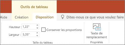 Bouton texte de remplacement dans le ruban d'un tableau dans PowerPoint online.
