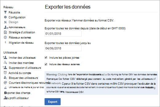 Page Exporter, affichant les options d'exportation