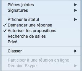 Menu Réunion - Réunion Skype désactivée