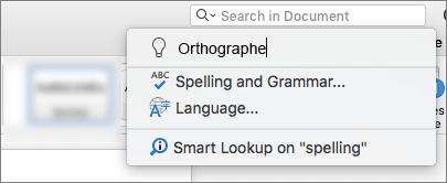 La communiquer Me zone de recherche dans Word 2016 pour Mac