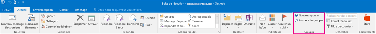 Options Groupes dans le ruban Outlook principal