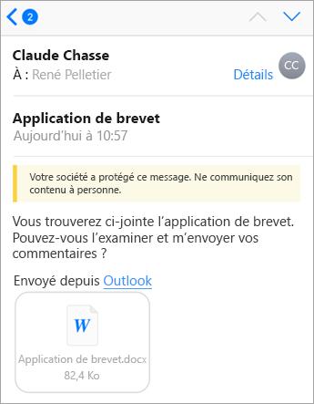 Conseil de sécurité: Votre entreprise a protégé ce message avec Office 365.