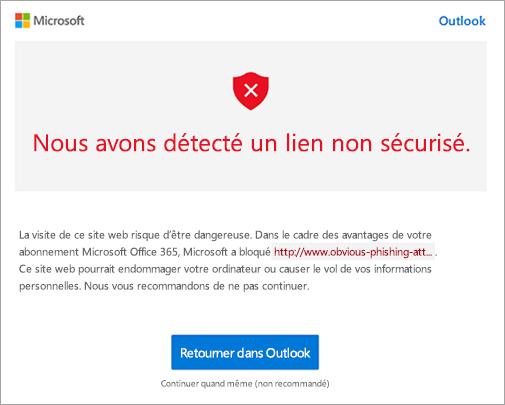 Capture d'écran de l'écran d'avertissement lien potentiellement dangereux