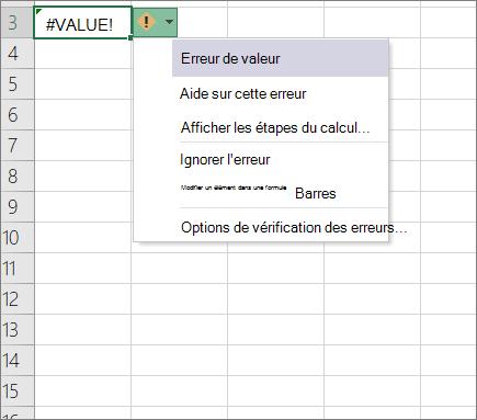 Liste déroulante qui s'affiche en regard de l'icône de la valeur de suivi