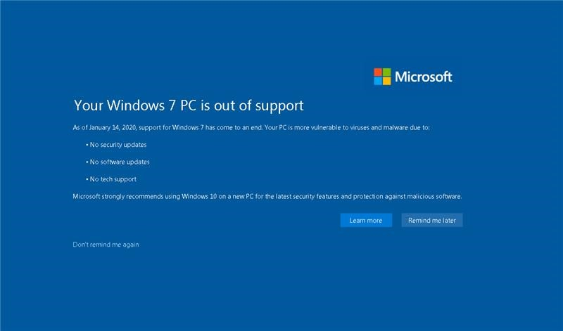 Votre PC Windows 7 n'est plus prise en charge.  Depuis le 14 janvier 2020, la prise en charge de Windows 7 a pris fin.  Votre PC est plus vulnérable aux virus et programmes malveillants, en raison de l'absence de mises à jour de sécurité, de mises à jour logicielles ou de support technique supplémentaires.  Microsoft recommande vivement d'utiliser Windows 10 sur un nouveau PC pour obtenir les dernières fonctionnalités de sécurité et la protection contre les logiciels malveillants.