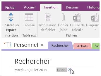 Capture d'écran montrant comment changer l'horodatage d'une page dans OneNote2016.