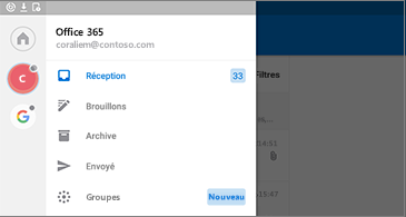 Menu affichant les autres options et commandes disponibles