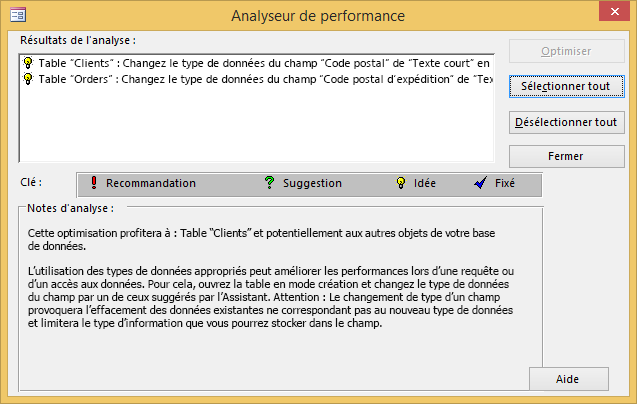 Boîte de dialogue des résultats de l'Analyseur de performance après l'exécution de l'outil sur une base de données Access.