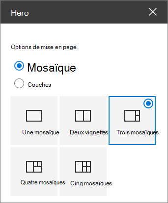 Options de mise en page de Hero