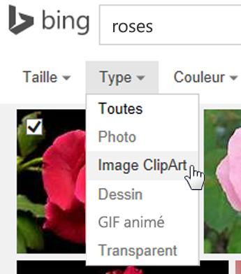 Ouvrir le filtre de Type et choisir Image clipart