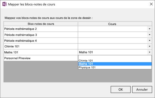 Volet Mapper les blocs-notes de cours comprenant la colonne Blocs-notes pour la classe et la colonne Cours de dessin. Le bloc-notes mappé s'appelle Math101.