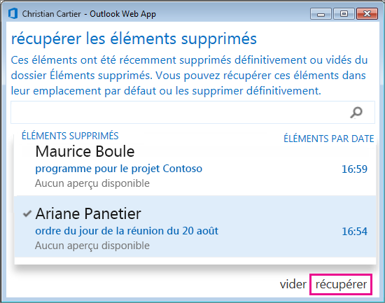 r u00e9cup u00e9rer des  u00e9l u00e9ments ou des messages supprim u00e9s dans outlook web app