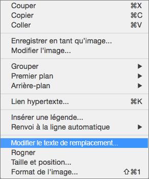 Option de texte de remplacement dans le menu contextuel dans Word