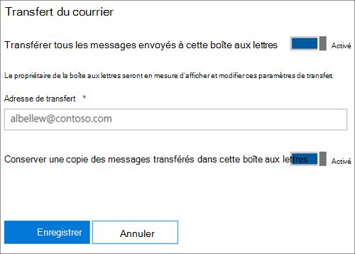 Capture d'écran: Entrez le transfert d'adresse de messagerie