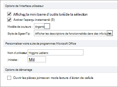 Volet Options de Word 2010 général